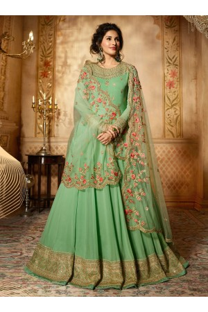 Amyra Dastur fresh green georgette wedding anarkali 9088