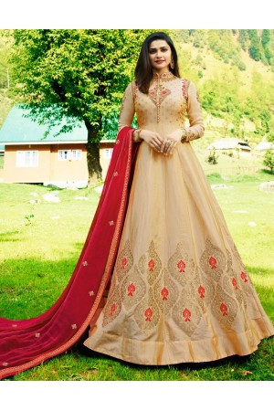 Bollywood Prachi Desai Cream Silk Indian wedding anarkali 8076