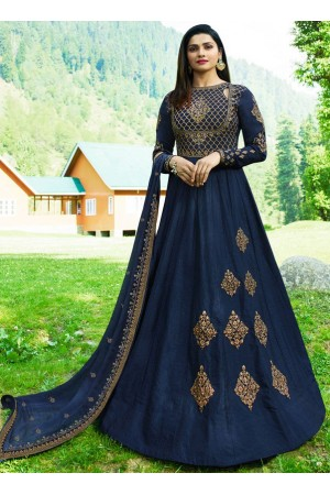 Bollywood Prachi Desai Navy blue Silk Indian wedding anarkali 8075