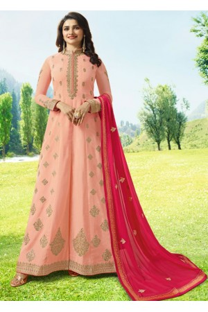 Bollywood Prachi Desai Peach Silk Indian wedding anarkali 8074
