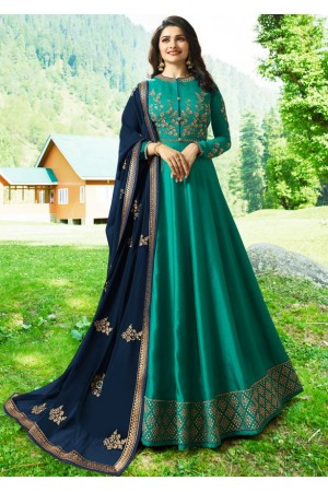 Bollywood Prachi Desai Teal Silk Indian wedding anarkali 8073