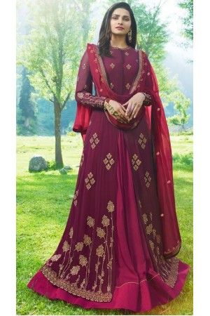 Bollywood Prachi Desai Wine Georgette Indian wedding anarkali 8071