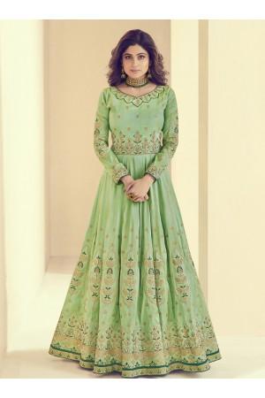 Shamita Shetty Green Silk Wedding Anarkali Suit 8002