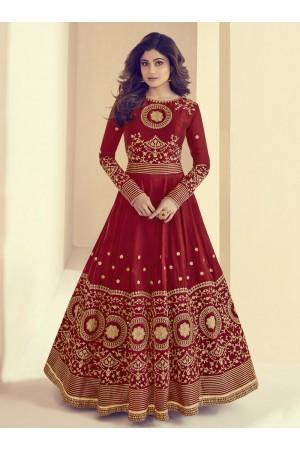 Shamita Shetty Red Silk Wedding Anarkali Suit 8001