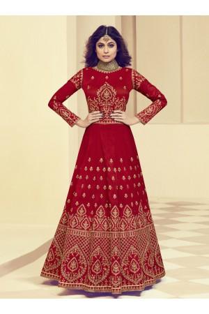 Shamita Shetty Red Silk Wedding Anarkali Suit 8005