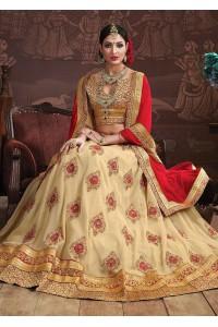 Beige Colored Embroidered Faux Georgette Wedding Lehenga Choli 3159