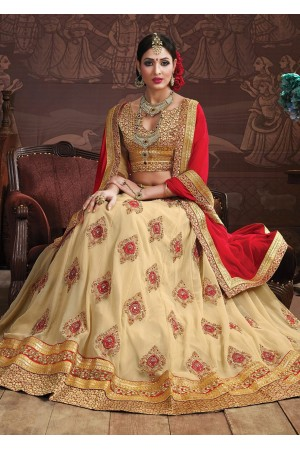 Beige Colored Embroidered Faux Georgette Wedding Lehenga Choli 3159