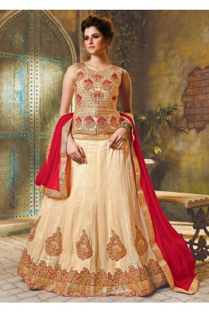 Beige Satin Embroidered Festive Lehenga choli 10465