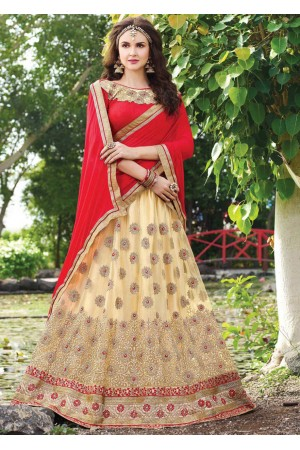 Beige net Embroidered Festive Lehenga choli 10449