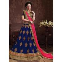Blue Colored Embroidered Faux Georgette Wedding Lehenga Choli 3155