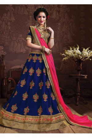 Blue Colored Embroidered Faux Georgette Wedding Lehenga Choli 3155