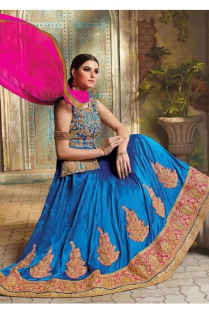 Blue Satin Embroidered Festive Lehenga choli 10461