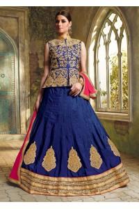 Blue Satin Embroidered Festive Lehenga choli 10472