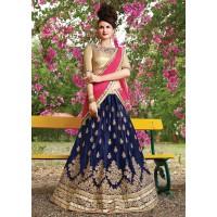 Blue net Embroidered Festive Lehenga choli 10451