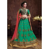 Green Colored Embroidered Faux Georgette Wedding Lehenga Choli 3158