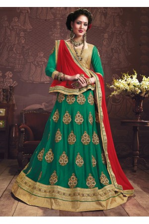 Green Colored Embroidered Faux Georgette Wedding Lehenga Choli 3161