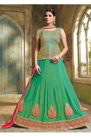 Green Satin Embroidered Festive Lehenga choli 10463