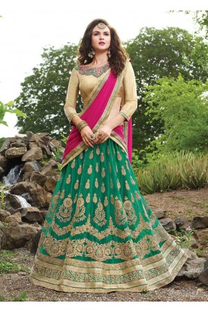 Green net Embroidered Festive Lehenga choli 10443