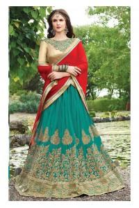 Green net Embroidered Festive Lehenga choli 10445