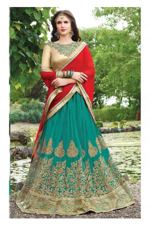 Green net Embroidered Festive Lehenga choli 10445