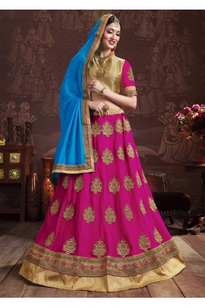Magenta Colored Embroidered Faux Georgette Wedding Lehenga Choli 3157