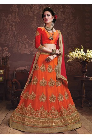 Orange Colored Embroidered Faux Georgette Wedding Lehenga Choli 3162