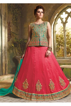 Peach Satin Embroidered Festive Lehenga choli 10462