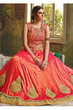Peach Satin Embroidered Festive Lehenga choli 10466