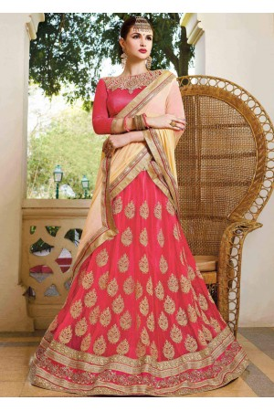 Peach net Embroidered Festive Lehenga choli 10446