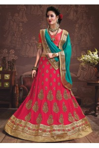 Pink Colored Embroidered Faux Georgette Wedding Lehenga Choli 3164