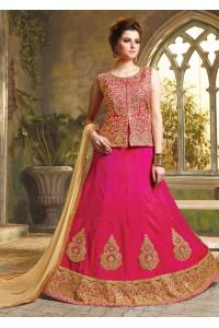 Pink Satin Embroidered Festive Lehenga choli 10471