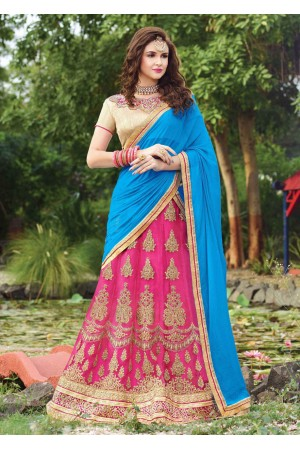 Pink net Embroidered Festive Lehenga choli 10441