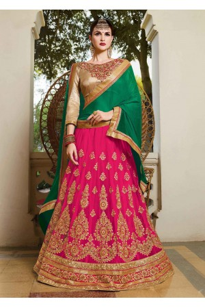Pink net Embroidered Festive Lehenga choli 10452