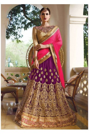 Purple net Embroidered Festive Lehenga choli 10444