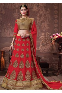 Red Colored Embroidered Faux Georgette Bridal Lehenga Choli 3160