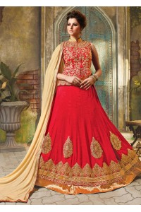 Red Satin Embroidered Festive Lehenga choli 10464