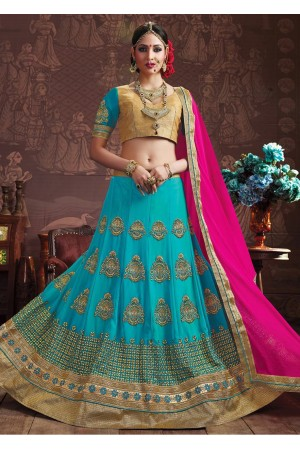 SkyBlue Colored Embroidered Faux Georgette Wedding Lehenga Choli 3154