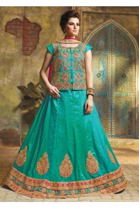 SkyBlue Satin Embroidered Festive Lehenga choli 10468