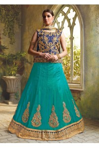SkyBlue Satin Embroidered Festive Lehenga choli 10470