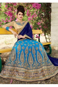SkyBlue net Embroidered Festive Lehenga choli 10448