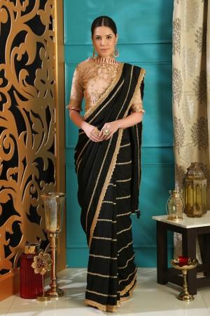 Black color silk designer party wear saree