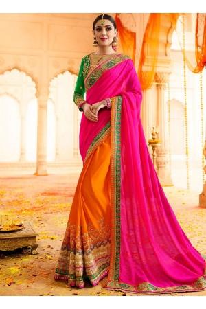 Orange bottle green and rani silk and georgette wedding saree