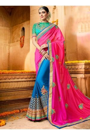 Peacock blue and Firozi color silk wedding saree