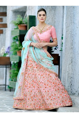 Light Pink  silk Indian wedding lehenga