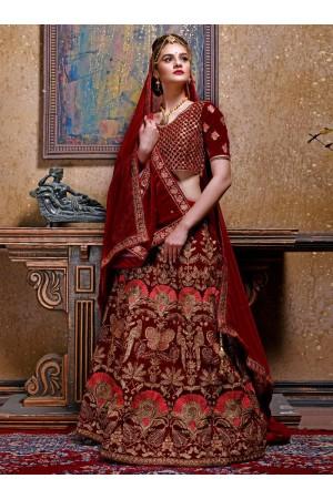 Maroon color velvet Indian wedding lehenga