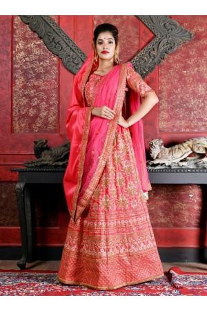 Deep pink silk Indian wedding lehenga