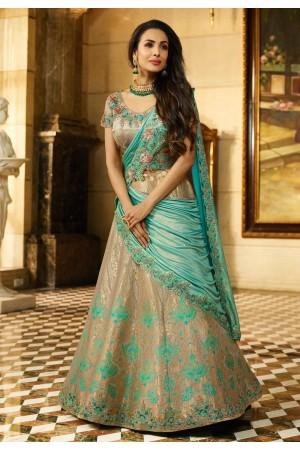 Malaika Arora Khan blue and beige Banarasi silk wedding lehenga