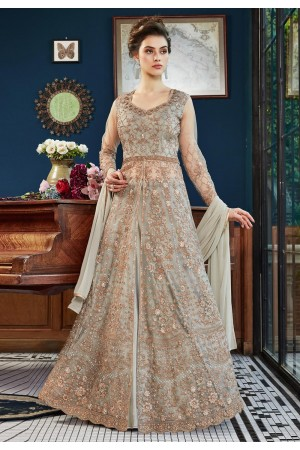 Gray net embroidered long choli lehenga  4534