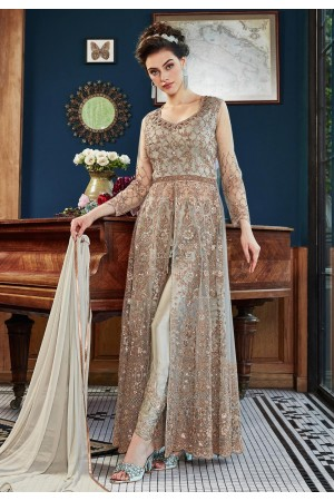 Gray satin embroidered center slit anarkali suit  4534A