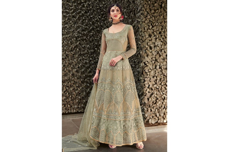 5991204182 Light green net embroidered ankle length anarkali suit 1638